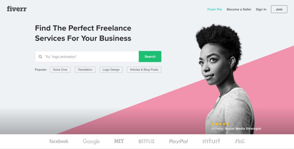 Startsidan på fiverr.com