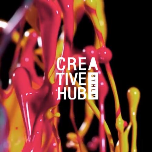Craetive Hub logotyp med färg i bakgrunden