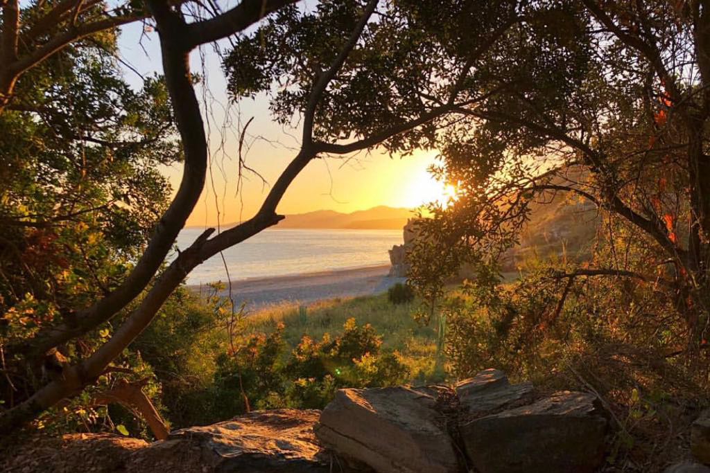 Solnedgång i Andalusien sedd från en liten skogsglänta