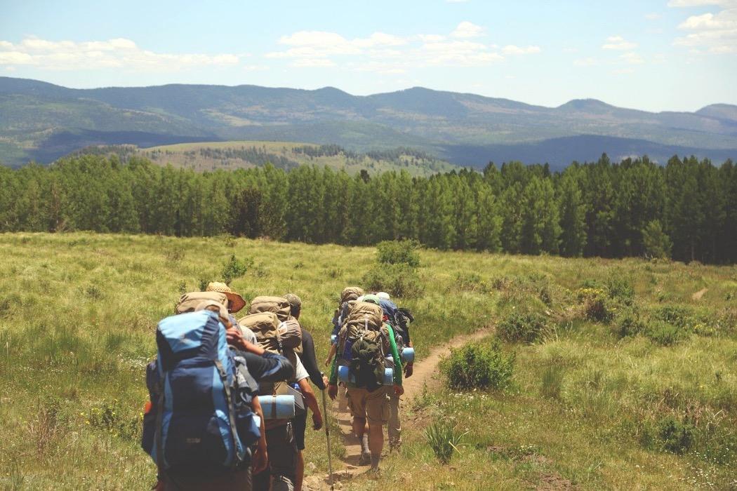 personer med ryggsäckar vandrar i naturen