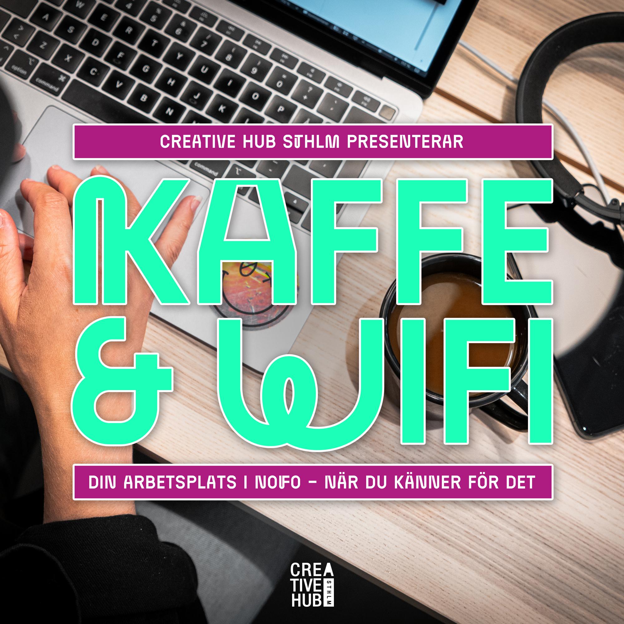 Kaffe och Wifi-logotyp ovanpå bild med dator och kaffe.