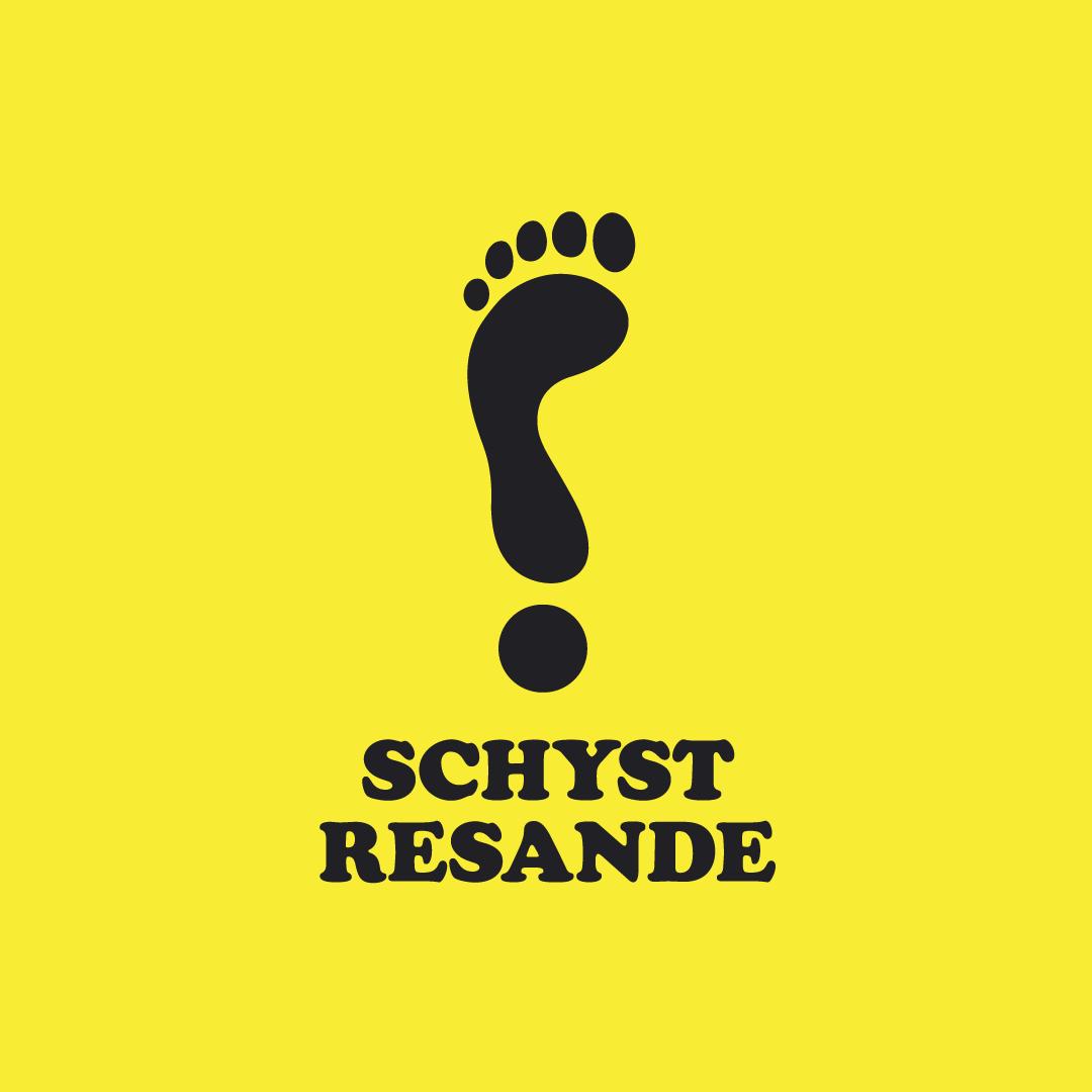 Schyst resande logotyp mot gul bakgrund