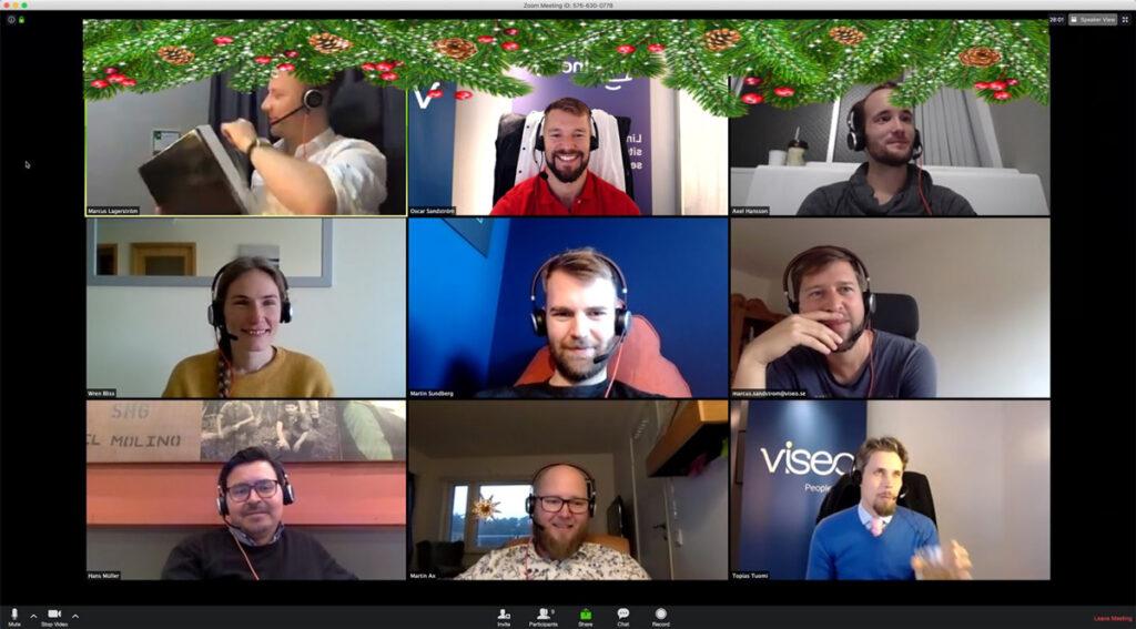 Viseo team samlat på Zoom med jultema